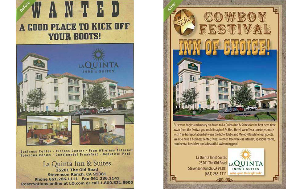Before and after version magazine ad for La Quinta Inns and Suites | Margolis-West Advertising Art in Santa Clarita| Magazine ad | Valencia
