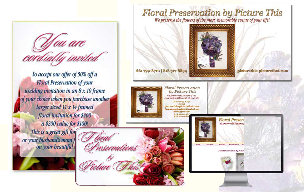 Full branding package for a company that presereves floral arrangements