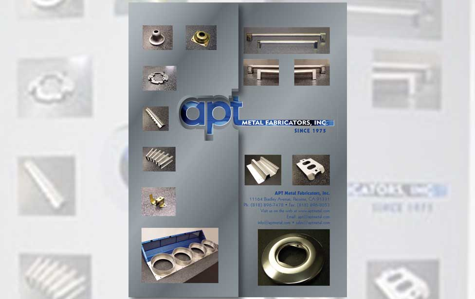 Marketing brochure for a metal fabricating company folded showing diecut