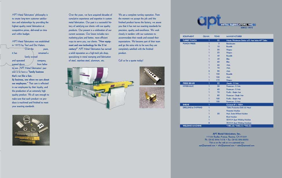 Inside of a marketing brochure for a metal fabricating company (unfolded view