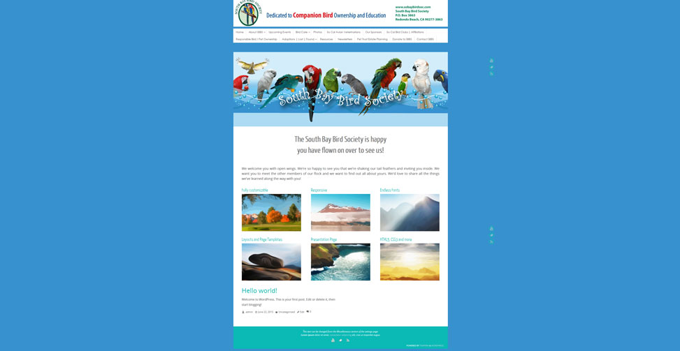 Website for a parrot organization dedicated to the health and wellbeing of the birds