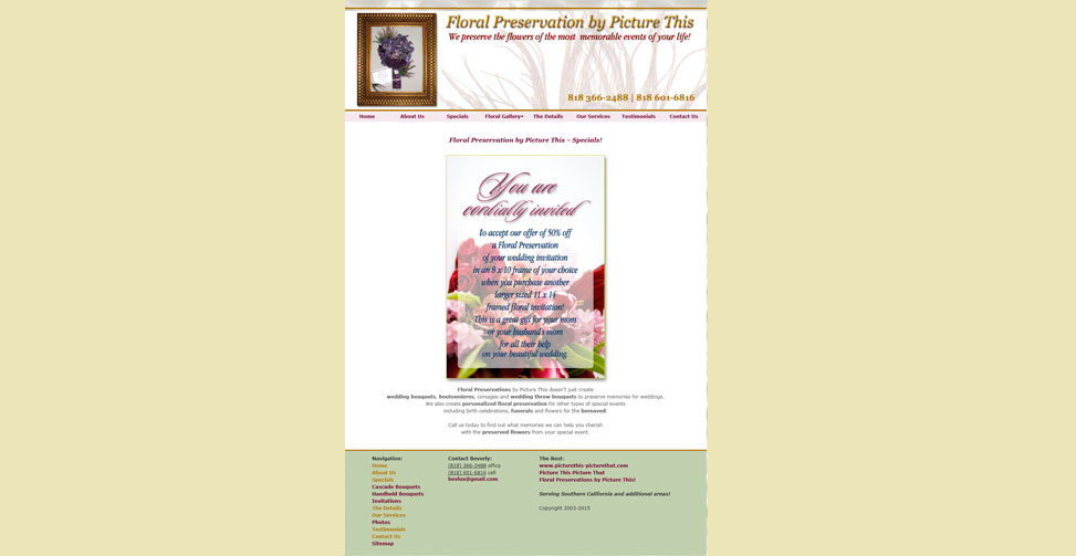 Web for a provider of special occoasion floral preservation
